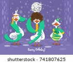two goose holding the number 59....   Shutterstock .eps vector #741807625
