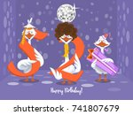two goose holding the number 52....   Shutterstock .eps vector #741807679