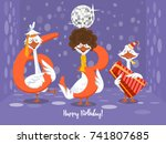 two goose holding the number 63....   Shutterstock .eps vector #741807685