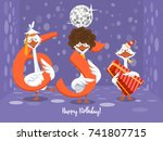 two goose holding the number 65....   Shutterstock .eps vector #741807715