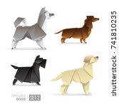 set of origami dogs vector... | Shutterstock .eps vector #741810235