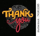 thank you card template with... | Shutterstock .eps vector #741811285