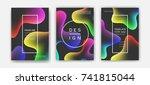 fluid color covers set.... | Shutterstock .eps vector #741815044