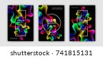 fluid color covers set.... | Shutterstock .eps vector #741815131