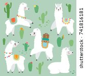 cute llama set with cactus | Shutterstock .eps vector #741816181