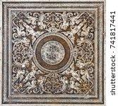old tile arabesque marble...   Shutterstock . vector #741817441