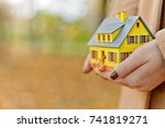 mini yellow house model in... | Shutterstock . vector #741819271