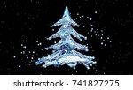 christmas water splash tree on... | Shutterstock . vector #741827275