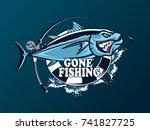 tuna big fishing on white logo... | Shutterstock .eps vector #741827725