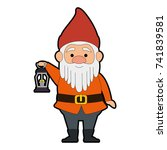 cute gnome with miner lamp... | Shutterstock .eps vector #741839581