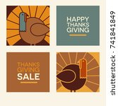 happy thanksgiving flat... | Shutterstock .eps vector #741841849