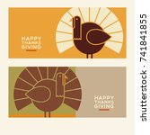 happy thanksgiving flat... | Shutterstock .eps vector #741841855