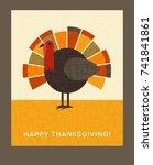happy thanksgiving flat... | Shutterstock .eps vector #741841861