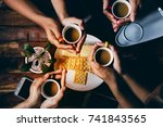 people drinking  coffee   and... | Shutterstock . vector #741843565