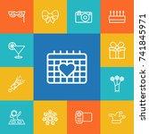 set of 13 cheerful outline... | Shutterstock .eps vector #741845971