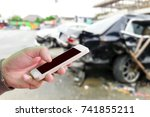 man use mobile phone  blur... | Shutterstock . vector #741855211