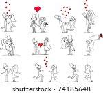 set of wedding pictures  bride... | Shutterstock .eps vector #74185648