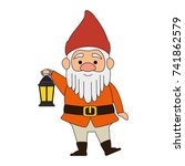 cute gnome with miner lamp... | Shutterstock .eps vector #741862579
