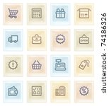 shopping icons on color paper. | Shutterstock .eps vector #74186326