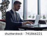 adult serious man has business... | Shutterstock . vector #741866221