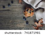 still life with blueberry... | Shutterstock . vector #741871981