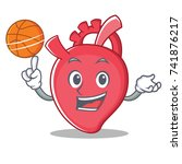 with basketball heart character ... | Shutterstock .eps vector #741876217