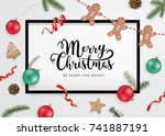 christmas flat lay design with... | Shutterstock .eps vector #741887191