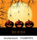 halloween background with... | Shutterstock .eps vector #741889591