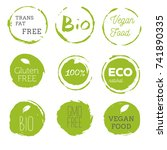 healthy food icons  labels.... | Shutterstock .eps vector #741890335