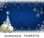 christmas blue background with...   Shutterstock .eps vector #741893731