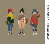 fashion girls in trendy... | Shutterstock .eps vector #741894871