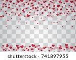 romantic origami paper heart... | Shutterstock .eps vector #741897955