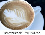 cappuchino or latte coffe in a... | Shutterstock . vector #741898765