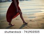 barefoot girl in red dress... | Shutterstock . vector #741903505