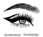 hand drawn woman's exotic... | Shutterstock .eps vector #741905281