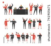 people who party in the club... | Shutterstock .eps vector #741905671