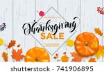 thanksgiving sale web banner or ... | Shutterstock .eps vector #741906895