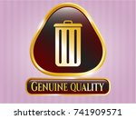 gold badge with trash can icon ... | Shutterstock .eps vector #741909571