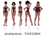 set of female body shape types  ... | Shutterstock .eps vector #741915844