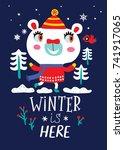 card with a cute polar bear on... | Shutterstock .eps vector #741917065