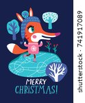 christmas card with a cute fox... | Shutterstock .eps vector #741917089