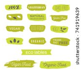 healthy food icons  labels.... | Shutterstock .eps vector #741919639