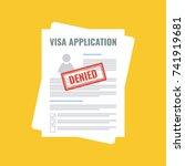 denied visa application  flat... | Shutterstock .eps vector #741919681