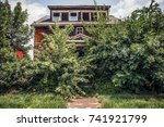 fire damaged abandoned house... | Shutterstock . vector #741921799