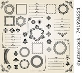 vintage set of horizontal ... | Shutterstock . vector #741926221