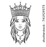 hand drawn lovely queen  vector ... | Shutterstock .eps vector #741929575