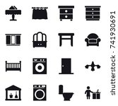 16 vector icon set   restaurant ... | Shutterstock .eps vector #741930691