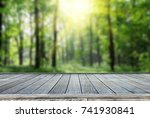 wooden deck table with forest... | Shutterstock . vector #741930841