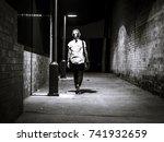 walking home in black   white | Shutterstock . vector #741932659