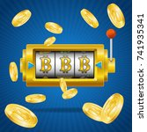 golden bitcoin mining concept... | Shutterstock .eps vector #741935341